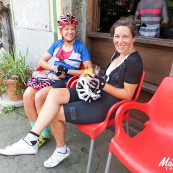 Cafe stop in the Spanish Picos with Marmot Tours road cycling