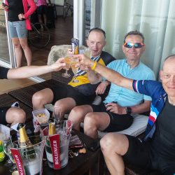 Celebrating finishing the Raid Corsica with Marmot Tours