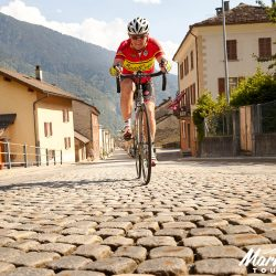 Climbing the cobbles on the San Bernadino with Marmot Tours in the Dolomites