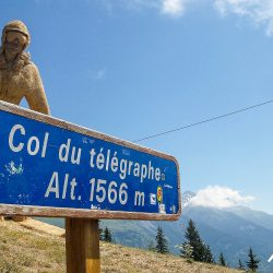 Col du Telegraph sign on the Marmot Tours classic cols of the alps road cycling holiday