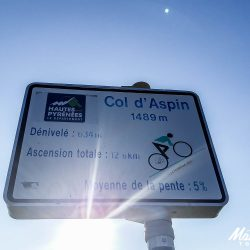 Col sign for the Aspin in the pyrenees
