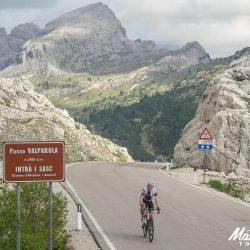 Cresting the Valparola in the Dolomites with Marmot Tours Dolomites classics road cycling holidays
