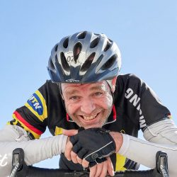 Elation at completing the Ventoux challenge with Marmot Tours