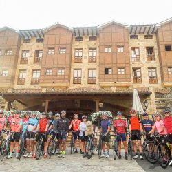 Group photo at the start of the Marmot Tours classic cols of the Picos road cycling holiday