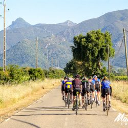 Heading back into the hills on a Roman road on the East coast of Corsica, with Marmot Tours