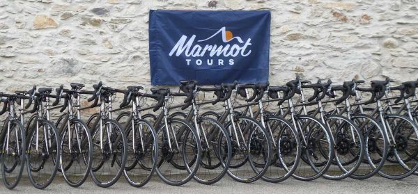 Line up of the Marmot Tours titanium hire bike fleet