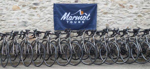 Line up of the Marmot Tours titanium hire bike fleet