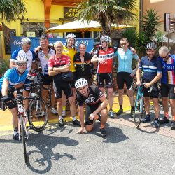 Posing at the finish of the Marmot Tours raid pyrenean