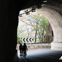 Sheltering in the shade of the tunnels in the Italian Dolomites with Marmot Tours