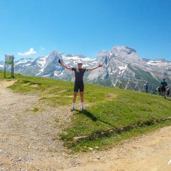 Solo at the summit of the aubisque on the raid pyrenean with marmot tours