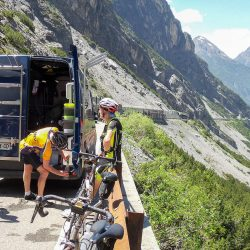 Stopping at the support van for refreshments on the Stelvio