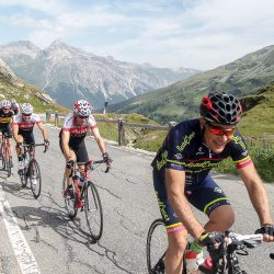 Summiting the Splugen pass on the Raid Dolomites with Marmot Tours