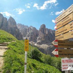 Walking routes signed at the Pordoi on the Marmot Tours Dolomites classics road cycling holiday