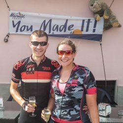 Celebrating at the finish of the Marmot Tours Raid Sardinia