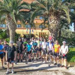 Group about to start the Marmot Tours Raid Sardinia road cycling challenge Italy