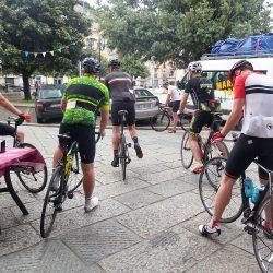 Group leaving the cafe on the Marmot Tours Raid Sardinia