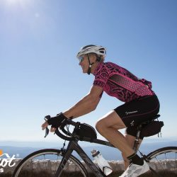 Arriving at the summit of Mont Ventoux with Marmot Tours