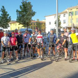 Group waiting to start the the Ventoux and Verdon gorge road cycling holiday with Marmot Tours