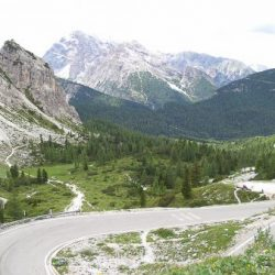 Hairpins on best climbs of the Dolomites