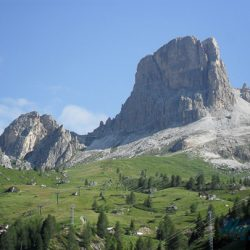 Iconic Tre Cime mountain in the Italian Dolomites