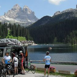 Marmot Tours Van and Guides offering support to cyclists in Alleghe, Dolomites
