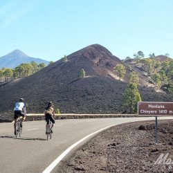 Duo riding towards Teide on the Tenerife Classics road cycling holiday with Marmot Tours