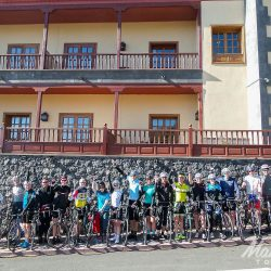 Group shot at the start of the Tenerife Classics road cycling holiday with Marmot Tours