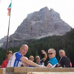 Lunch stop in the mountains of Italy's Dolomites during a Marmot Tours cycling holiday