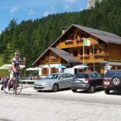 Cafe Stop on a Marmot Tours Cycling Holiday in the Dolomites