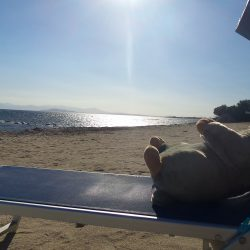 Marmot Tours' mascot, Margo, sunbathing on the beach in Sardinia