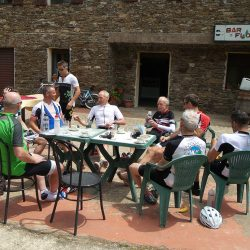Enjoying a lunch stop on the Raid Sardinia