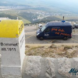 Marmot Tours Van supporting cyclists on the climb up to Ventoux