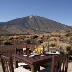 Terrace of the Parador de Canadas del Teide in Tenerife - hotel used by Marmot Tours cycling holidays