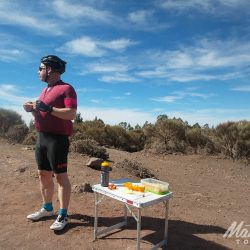 Snacking from the van on the Tenerife Classics road cycling holiday with Marmot Tours