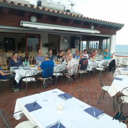 Dinner on terrace of hotel Bue Marine in Cala Gonone Sardinia Europe Cycling holidays