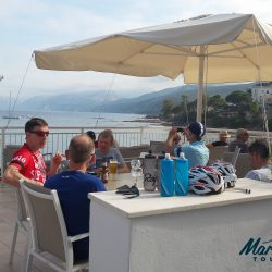 Group of Marmot Tours cyclists on holiday at Hotel Bau Marine in Cala-Gonone, Sardinia, Italy, Europe