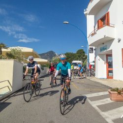 Leaving the hotel in Cala Gonone on the Marmot Tours road cycling holiday Sardinia