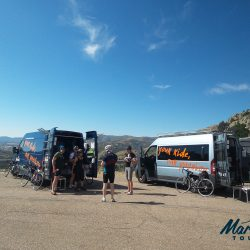 Marmot Cycling Tours support vehicles on Burncu Spina in Sardinia, Italy, Europe