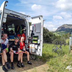 Resting in the support van in Sardinia with Marmot Tours