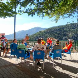 Snacking at a cafe in sardinia with marmot Tours