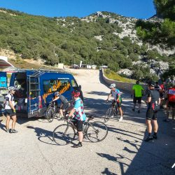Snacking from the support vans in Sardinia with Marmot Tours