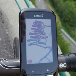 The hairpin bends of the Lacets de Montvernier displayed on a Garmin 1000 GPS - Marmot Cycling Holidays