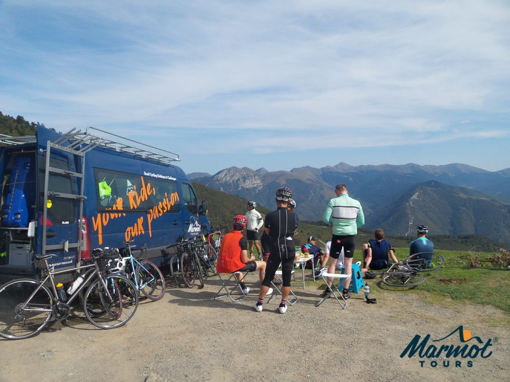 Guided cycling holiday with Marmot Tours support vehicle in Pyrenees