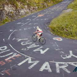 Susan rounds the final hairpin just before the famously steep section of the Puy Mary on day 2 of the Marmot Tours Raid Massif Central - rmc