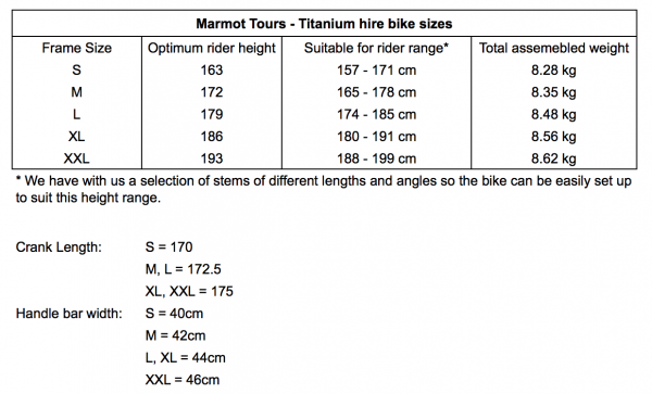 Bike Fit and Size chart for the Marmot Tours Titanium hire bikes.