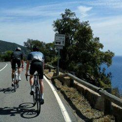 Cycling on the Catalonia coast near Tossa de Mar on a Marmot Tours cycling holiday
