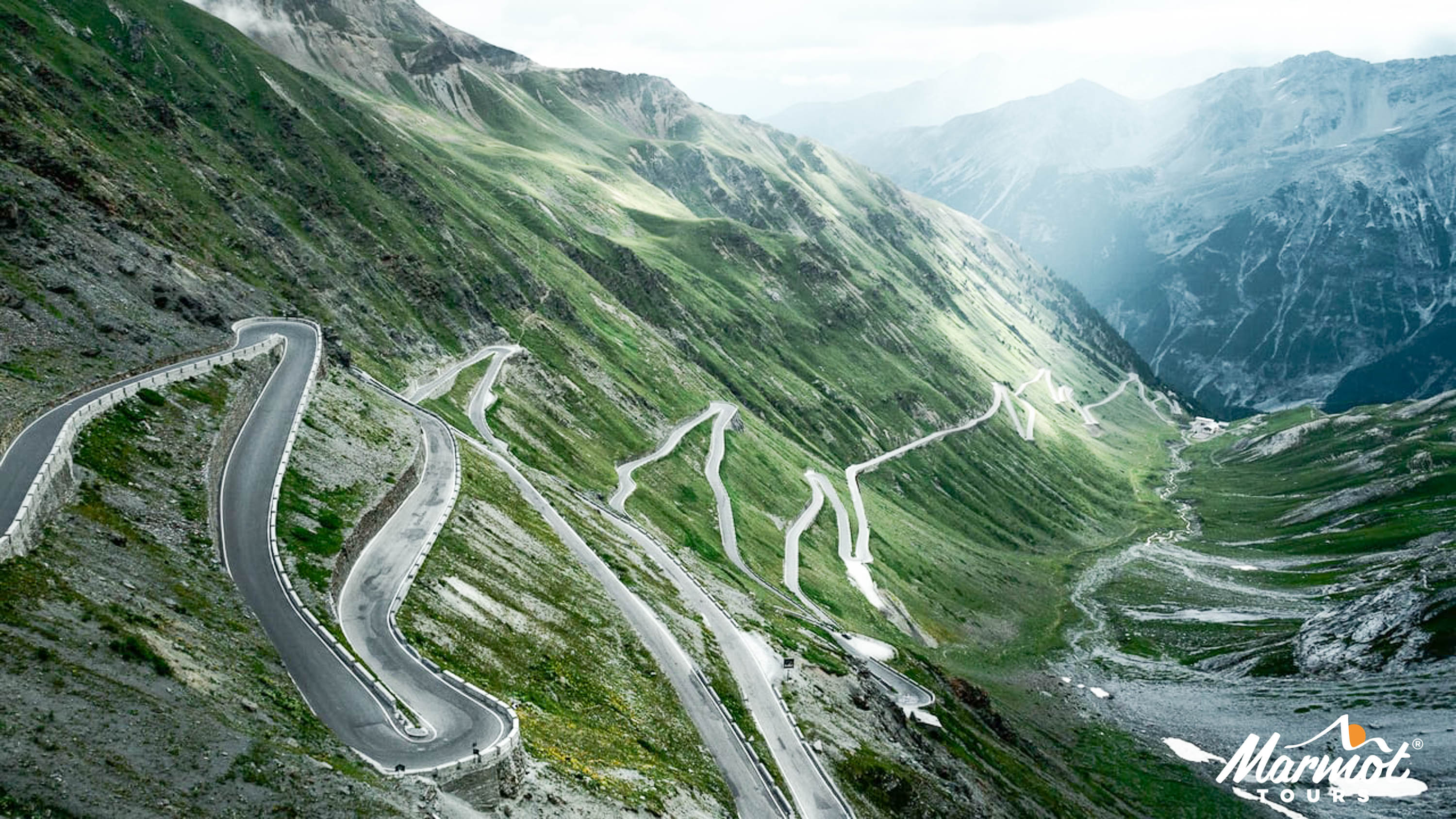 The hairpins of the Stelvio - Classic Cols of the Dolomites - mountain cycling holidays Italy