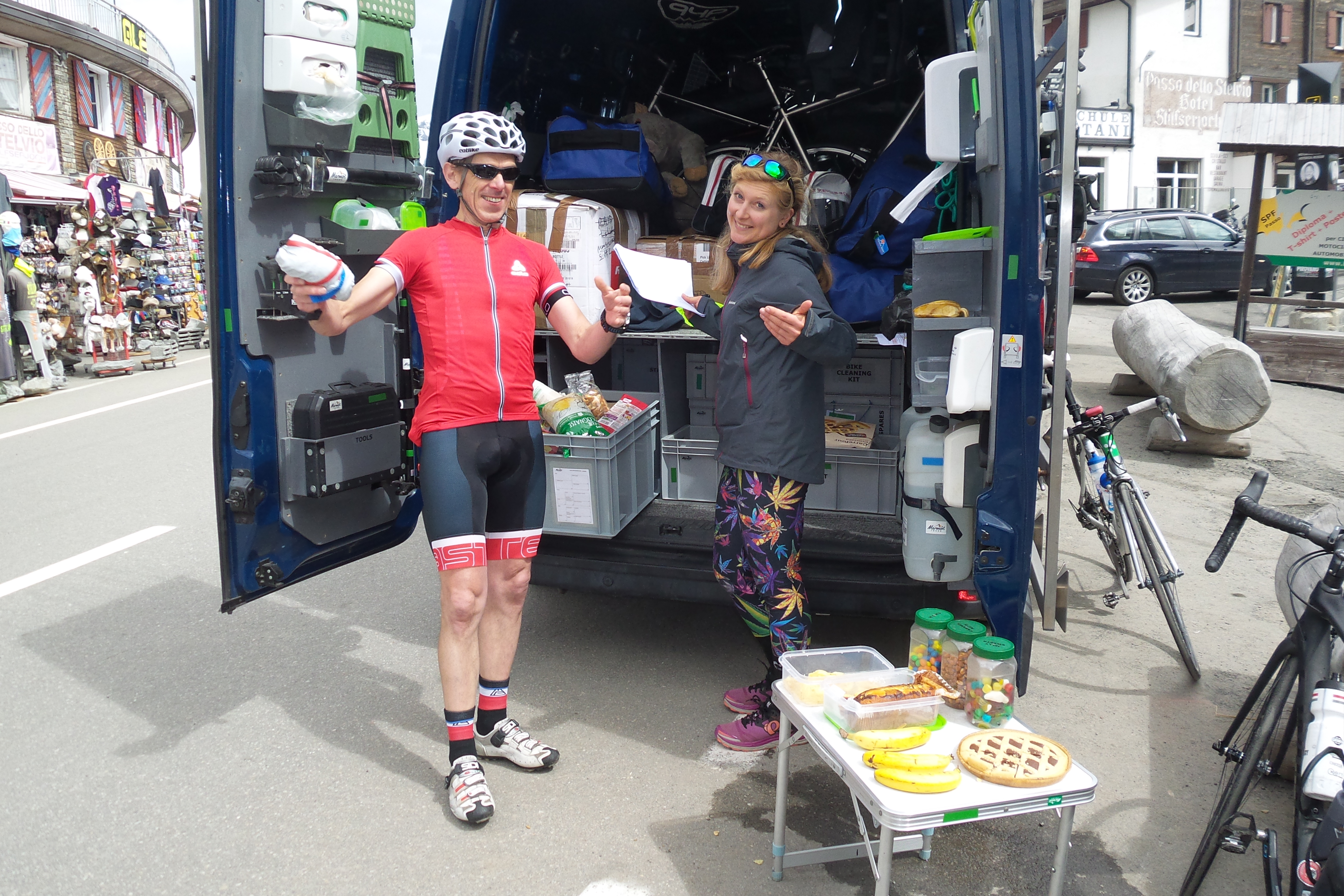 Marmot Tours staff support our riders with food, water, and moral support