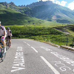 Climbing the Galibier on the Marmot Tours raid alpine cycling holiday.