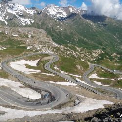 Endless hairpins of the Galibier on the raid alpine with Marmot Tours.